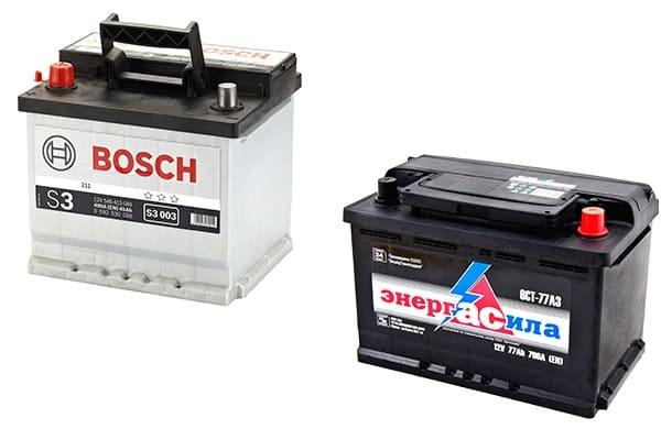 Реальное фото аккумуляторов для легковых автомобилей с прямой и обратной полярностью