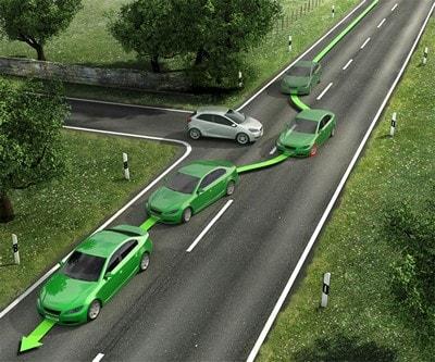 Траектория автомобиля с ESP